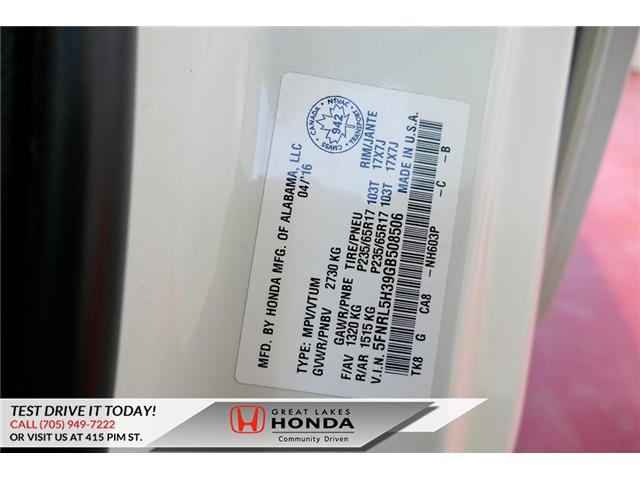 2016 Honda Odyssey SE (Stk: H6200A) in Sault Ste. Marie - Image 9 of 22