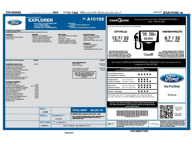 2014 Ford Explorer Limited (Stk: 148680X) in Kitchener - Image 2 of 4
