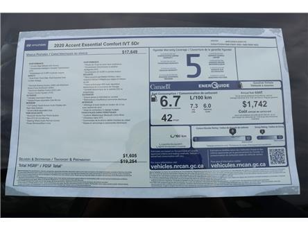 2020 Hyundai Accent Essential (Stk: 01975) in Saint John - Image 2 of 2
