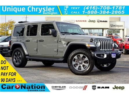 2019 Jeep Wrangler Unlimited SAHARA| SKY POWER SOFT TOP| SAFETYTEC| LED & MORE! (Stk: K825A) in Burlington - Image 1 of 50