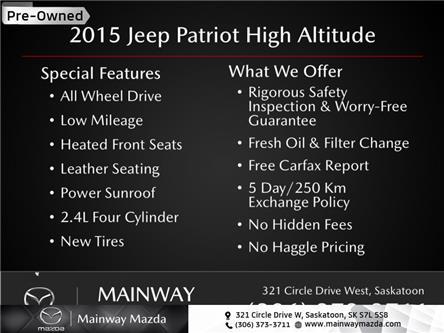 2015 Jeep Patriot High Altitude (Stk: M21005B) in Saskatoon - Image 1 of 13