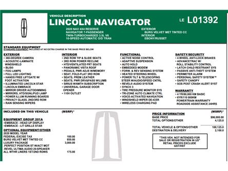 2020 Lincoln Navigator Reserve (Stk: C6490) in Concord - Image 1 of 5