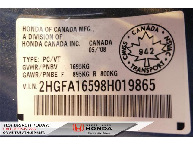 2008 Honda Civic LX (Stk: H5718A) in Sault Ste. Marie - Image 18 of 18