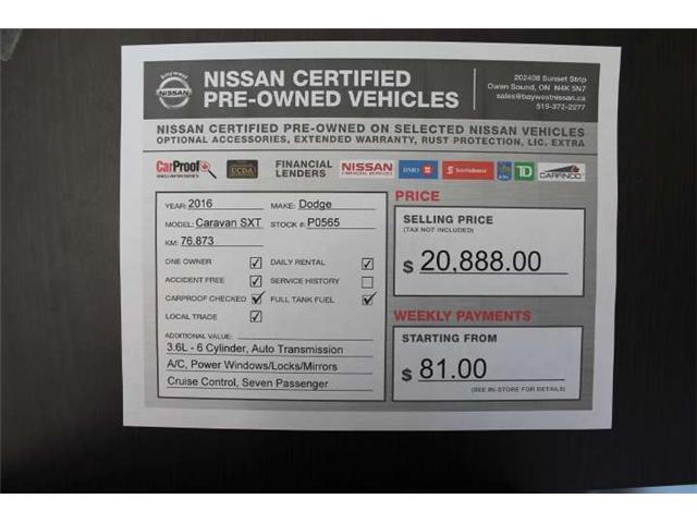 2016 Dodge Grand Caravan SE/SXT (Stk: P0565) in Owen Sound - Image 13 of 13