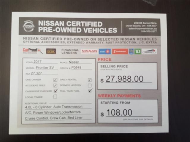 2017 Nissan Frontier SV (Stk: P0584) in Owen Sound - Image 13 of 13