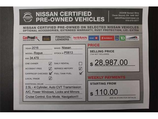 2016 Nissan Rogue SL Premium (Stk: P0613) in Owen Sound - Image 14 of 14