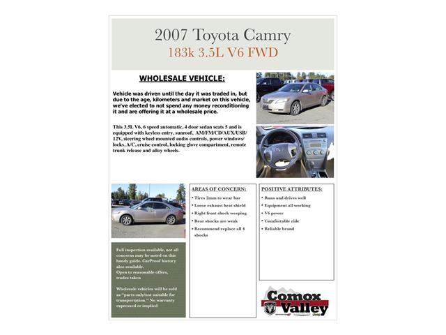 2007 Toyota Camry LE V6 (Stk: H558854A) in Courtenay - Image 9 of 10