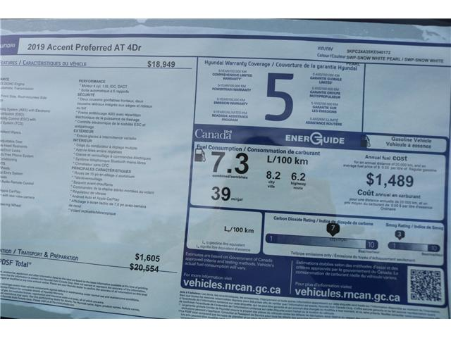 2019 Hyundai Accent Preferred (Stk: 91284) in Saint John - Image 3 of 3