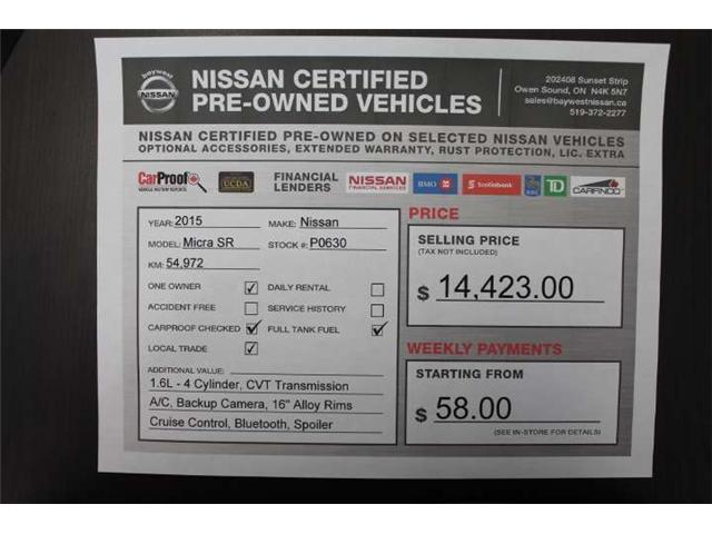 2015 Nissan Micra SR (Stk: P0630) in Owen Sound - Image 13 of 13