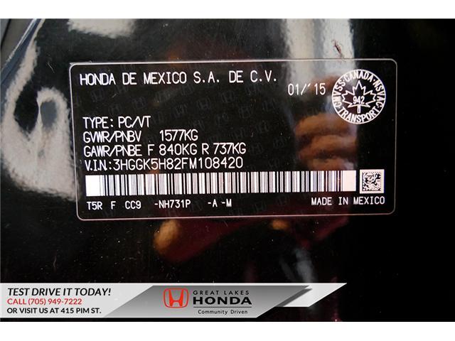 2015 Honda Fit  (Stk: HP581) in Sault Ste. Marie - Image 10 of 25