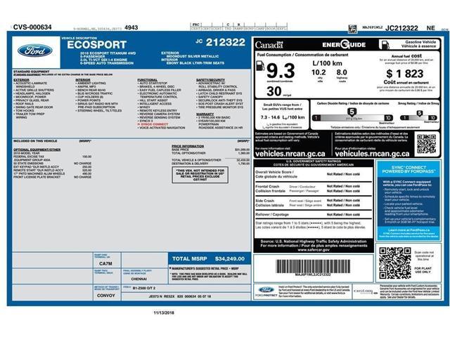2018 Ford EcoSport Titanium (Stk: 146440) in Kitchener - Image 2 of 5