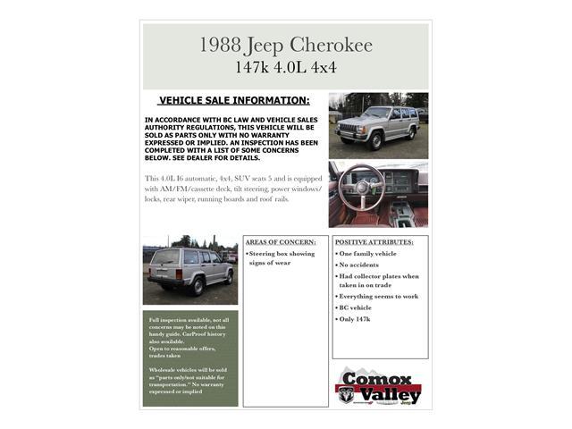 1988 Jeep Cherokee SE (Stk: N194619C) in Courtenay - Image 12 of 12