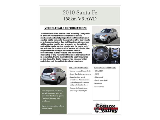 2010 Hyundai Santa Fe Limited 3.5 (Stk: H347413) in Courtenay - Image 30 of 30