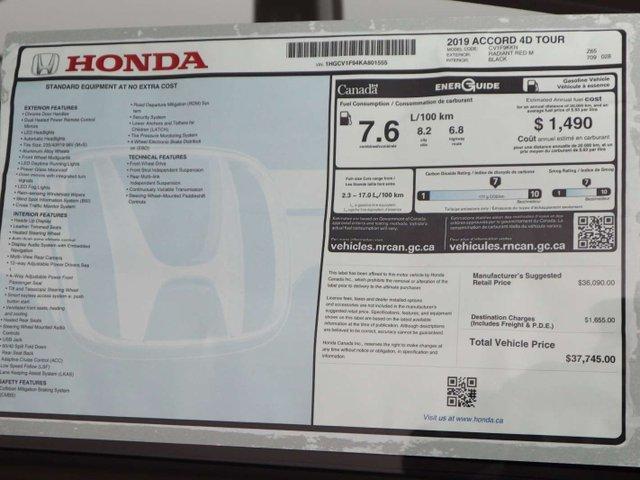 2019 Honda Accord Touring 1.5T (Stk: 219168) in Huntsville - Image 11 of 36
