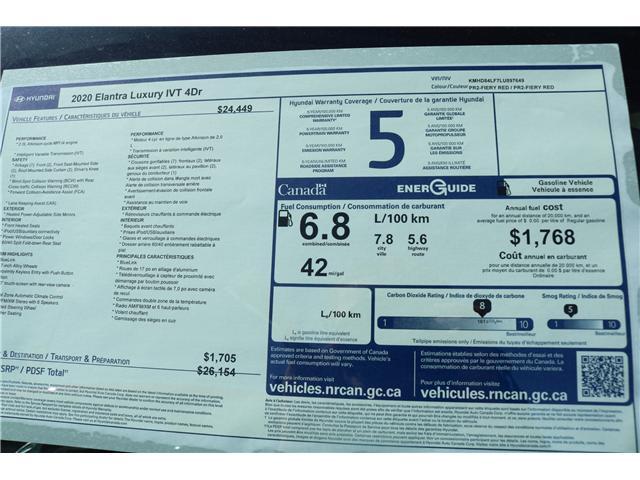 2020 Hyundai Elantra Luxury (Stk: 02871) in Saint John - Image 2 of 2
