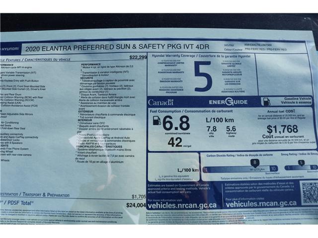 2020 Hyundai Elantra Preferred w/Sun & Safety Package (Stk: 02879) in Saint John - Image 2 of 2