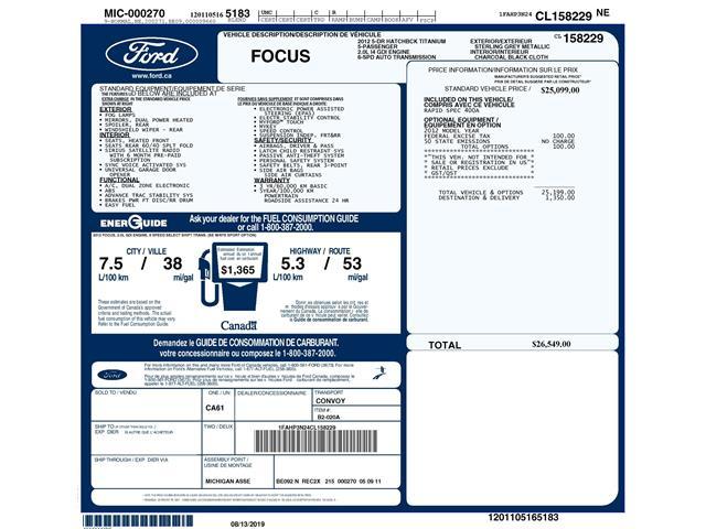 2012 Ford Focus Titanium (Stk: D95330AXJ) in Kitchener - Image 2 of 5