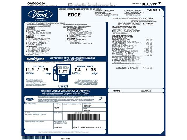 2011 Ford Edge Limited (Stk: 9F6840BX) in Kitchener - Image 2 of 5