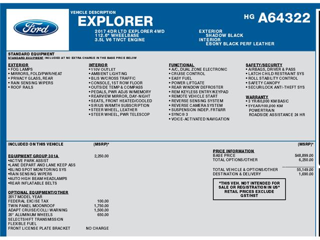 2017 Ford Explorer Limited (Stk: C3104) in Concord - Image 1 of 1