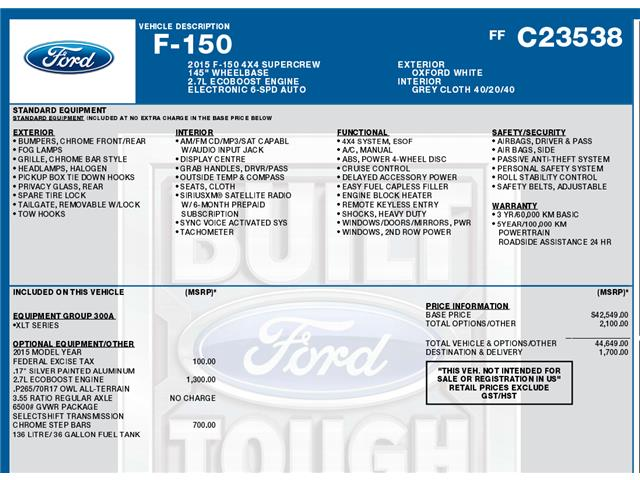 2015 Ford F-150 XLT (Stk: C3105) in Concord - Image 1 of 1