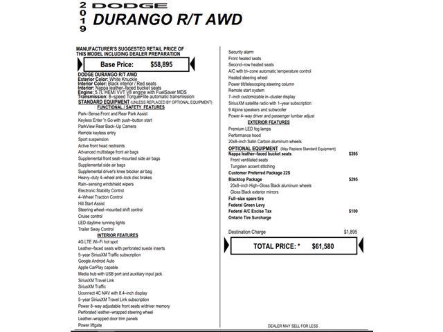 2019 Dodge Durango R/T (Stk: C3226) in Concord - Image 1 of 1