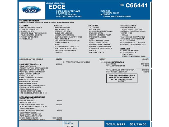 2017 Ford Edge Sport (Stk: C3362) in Concord - Image 1 of 1