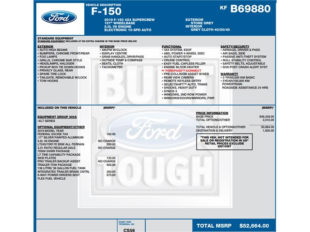 2019 Ford F-150 XLT (Stk: C3417) in Concord - Image 1 of 1