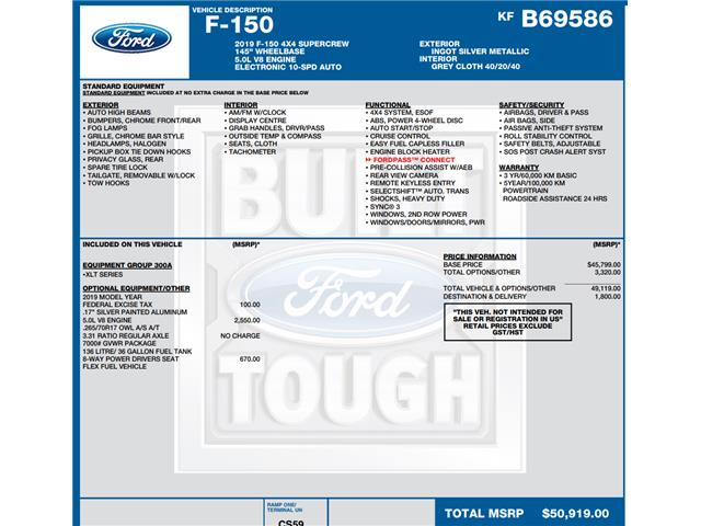 2019 Ford F-150 XLT (Stk: C3418) in Concord - Image 1 of 1