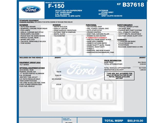 2019 Ford F-150 XLT (Stk: C3419) in Concord - Image 1 of 1
