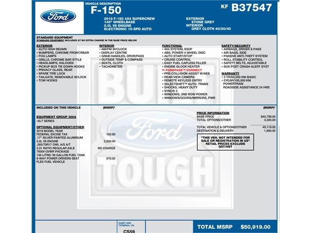 2019 Ford F-150 XLT (Stk: C3420) in Concord - Image 1 of 1