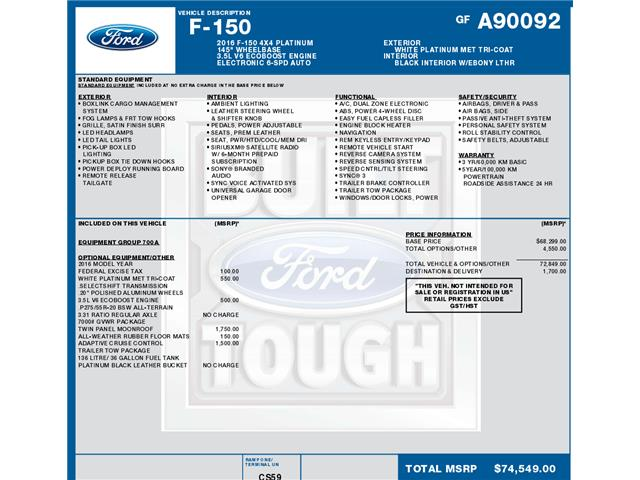 2016 Ford F-150 Platinum (Stk: C3612) in Concord - Image 1 of 1