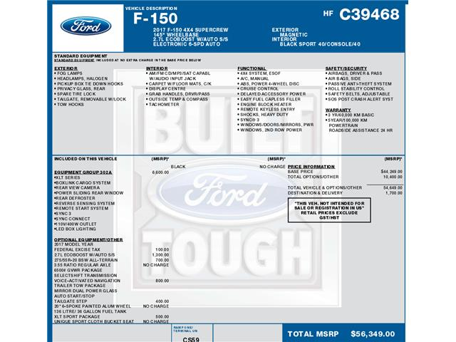 2017 Ford F-150 XLT (Stk: C3666) in Concord - Image 1 of 1