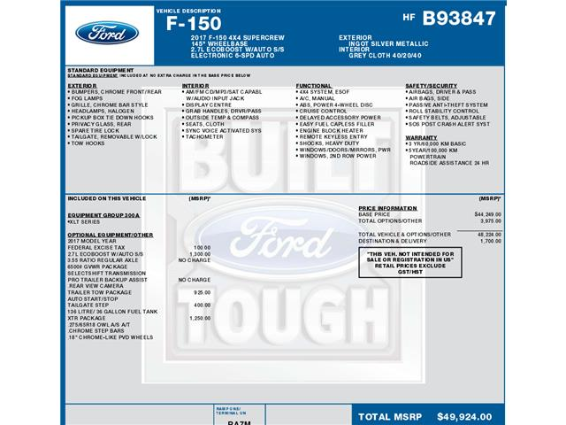 2017 Ford F-150 XLT (Stk: C3692) in Concord - Image 1 of 1