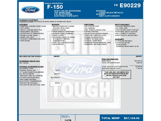 2015 Ford F-150 XLT (Stk: C3709) in Concord - Image 1 of 1