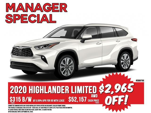 2020 Toyota Highlander Limited (Stk: S000750) in Winnipeg - Image 1 of 4