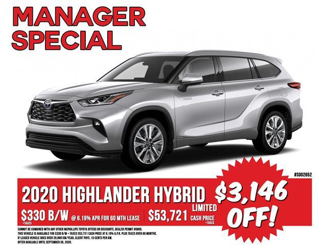 2020 Toyota Highlander Hybrid Limited (Stk: S002652) in Winnipeg - Image 1 of 26