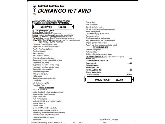 2019 Dodge Durango R/T (Stk: C5865) in Concord - Image 1 of 1