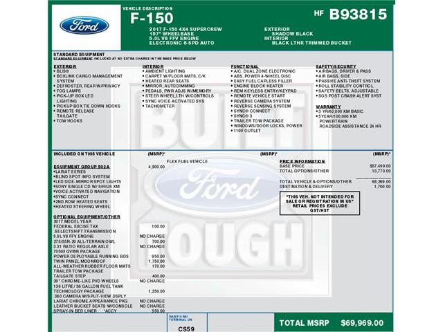 2017 Ford F-150 Lariat (Stk: C6095) in Concord - Image 1 of 1