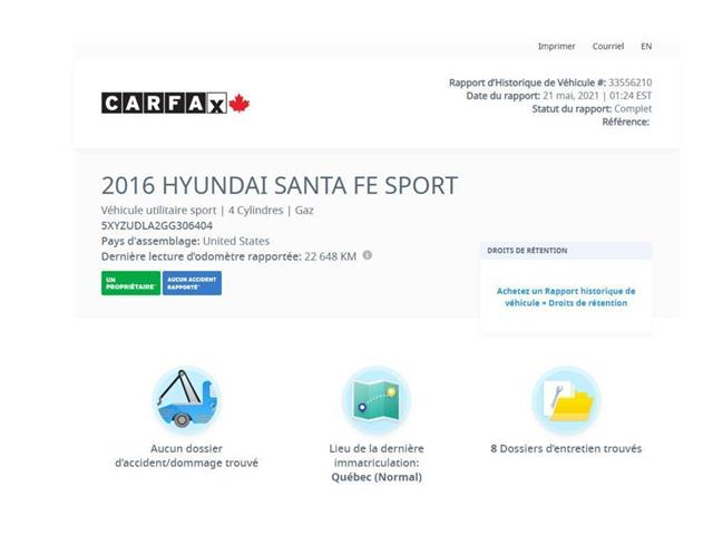 2016 Hyundai Santa Fe Sport  (Stk: 4433-2) in Saint-Jean-sur-Richelieu - Image 1 of 7