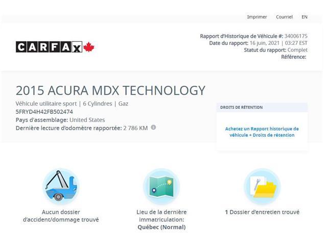 2015 Acura MDX Navigation Package (Stk: A4949J) in Saint-Jean-sur-Richelieu - Image 1 of 7