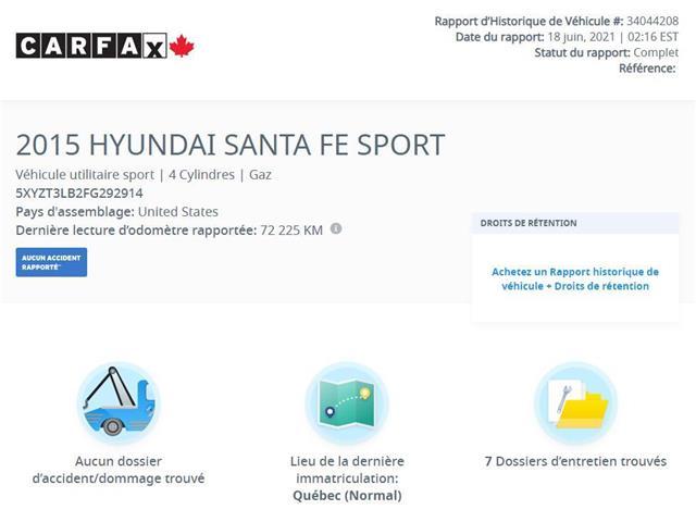 2015 Hyundai Santa Fe Sport  (Stk: H4958V) in Saint-Jean-sur-Richelieu - Image 1 of 7