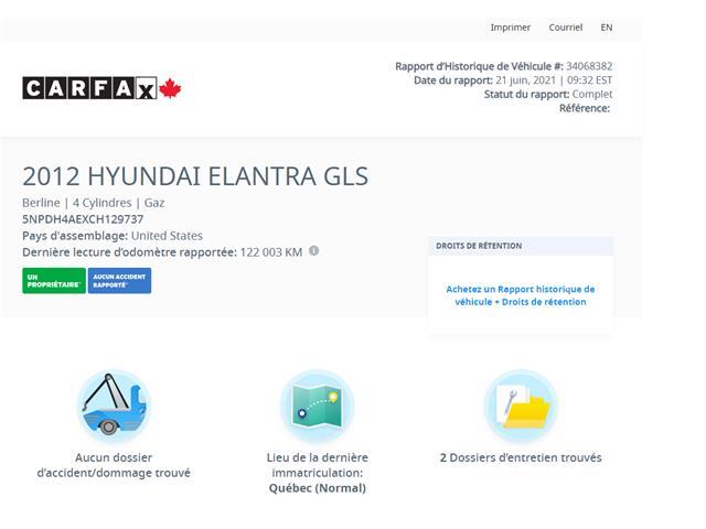 2012 Hyundai Elantra GL (Stk: 4351-4) in Saint-Jean-sur-Richelieu - Image 1 of 7