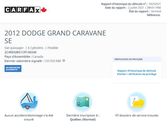 2012 Dodge Grand Caravan SE/SXT (Stk: 4931-2) in Saint-Jean-sur-Richelieu - Image 1 of 7