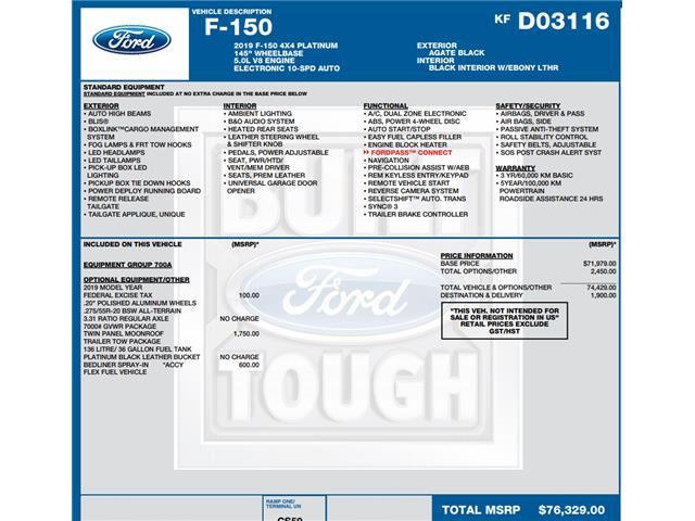 2019 Ford F-150 Platinum (Stk: C6249) in Concord - Image 1 of 1