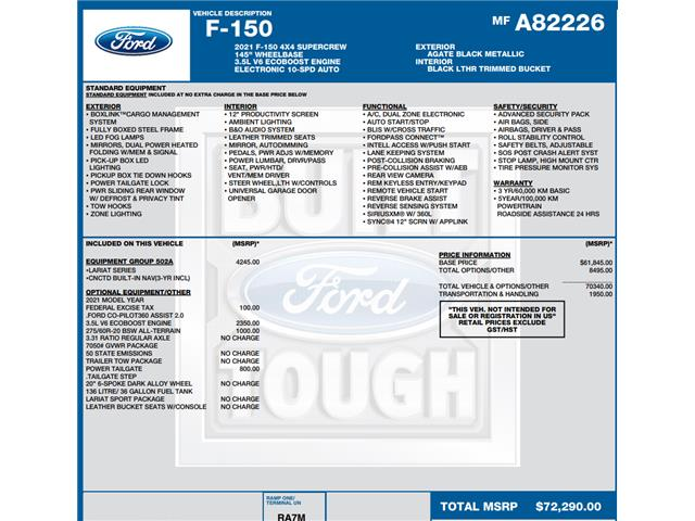 2021 Ford F-150 Lariat (Stk: C6257) in Concord - Image 1 of 1