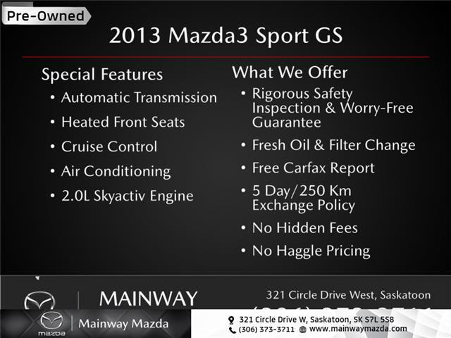 2013 Mazda Mazda3 Sport GS (Stk: M21221A) in Saskatoon - Image 1 of 1