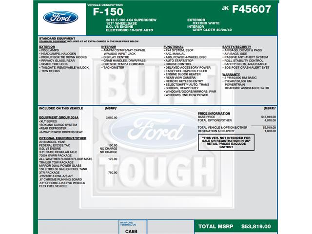 2018 Ford F-150 XLT (Stk: C6275) in Concord - Image 1 of 1