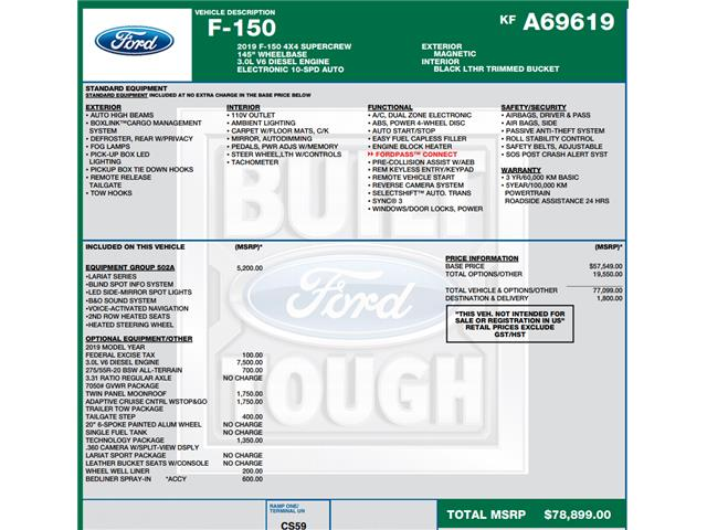 2019 Ford F-150 Lariat (Stk: C6296) in Concord - Image 1 of 1