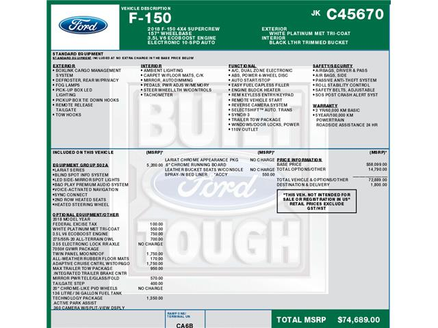 2018 Ford F-150 Lariat (Stk: C6297) in Concord - Image 1 of 1