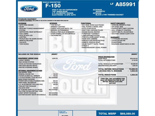 2020 Ford F-150 Lariat (Stk: C6301) in Concord - Image 1 of 1